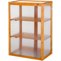 Outsunny 3-tier Wooden Cold Frame Greenhouse Flower Storage Shelves (76L x 47W x 110H (cm))