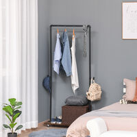 HOMCOM Industrial-Style Steel Clothes Hanging Rail w/ Hooks Shelf Wheels Storage