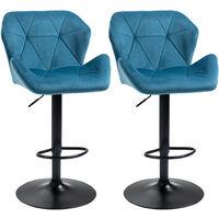HOMCOM Set Of 2 Luxurious Velvet-Touch Bar Stools w/ Metal Frame Footrest Base Blue