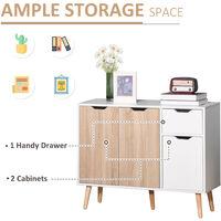 HOMCOM Storage Cabinet Floor Standing Sideboard with Drawer Kitchen Brown