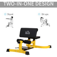 HOMCOM Squat Bench Trainer Sit Up Machine Ab Curl Workout Home Gym Yellow
