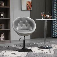 HOMCOM Velvet-feel Dining Chair Retro Tub Height Bar Stool Adjustable Height Grey