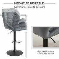 HOMCOM Set Of 2 Luxurious Velvet-Touch Bar Stools Metal Frame Footrest Base Grey