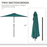 Outsunny Half Parasol Aluminium Frame Crank (2.7m, Green)--NO BASE INCLUDED