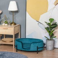 Pawhut Luxe Velvet-Feel Pet Sofa Bed w/ Removable Metal Frame Seat Cushion Green