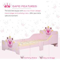 HOMCOM Kids Cute Princess Bed w/ Side Rails 6 Feet Slats Home 3-6 Yrs Pink