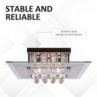 HOMCOM 5 Lights Crystal Chandelier Flush Rain Drop Ceiling Light Fixture in Metal Plate