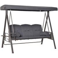 Outsunny 3-Seater Garden Swing Chair Patio Steel Swing Bench w/ Cup Tray Grey