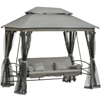 Outsunny 3 Seater Swing Chair Hammock Gazebo Patio Bench Outdoor Cushions Grey