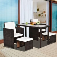 Outsunny 5 PCs Rattan Garden Furniture Wicker Weave Sofa Set Dining (Brown)