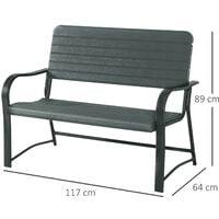 Outsunny 2 Seater Garden Bench Chair Outdoor Patio Furniture - Dark Green