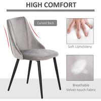 HOMCOM Set Of 2 Velvet-Feel High Back Dining Chairs w/ Metal Legs Grey