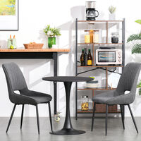 HOMCOM Round Dining Table Stylish Bistro Home Furniture w/ Metal Base Black