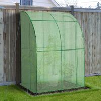Outsunny Outdoor Walk-In Lean to Wall Tunnel Greenhouse with Zippered Doors PE Cover Green 143L x 118W x 212Hcm