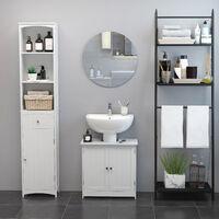HOMCOM Under Sink Bathroom Storage Cabinet 2 Layers Vanity Unit Wooden - White