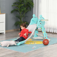 HOMCOM 2-In-1 Kids Deer Slide Basketball Hoop Playset Indoor/Outdoor 18 mths-4 Yrs