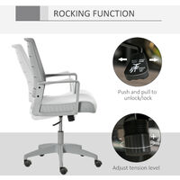 Vinsetto Mesh Office Chair Swivel Task Desk Seat w/ Back Support Adjustable Grey