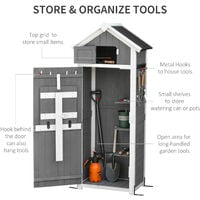 Outsunny Garden Wood Storage Shed w/ Workstation Hooks Lockable Outdoor Grey