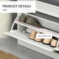 HOMCOM Shoe Storage Bench w/ Seat Cushion Drawers Adjustable Shelf White