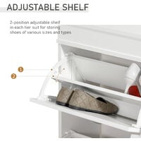 HOMCOM 4 Flip-Drawer Shoe Cabinet Modern Home Tidy Storage Adjustable White