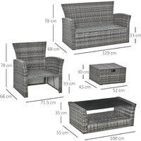 Outsunny 6 PCS PE Rattan Outdoor Patio Furniture Set Garden Table 2 Ottomans
