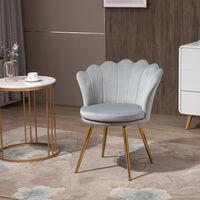 HOMCOM Velvet-Touch Art Deco Accent Chair Modern Dining Seat w/ Metal Legs Grey