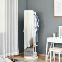 HOMCOM 3-In-1 Dressing Mirror Jewellery Cabinet Clothes Rack Clever Bedroom Storage