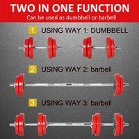 HOMCOM 20kg Two-In-One Dumbbell & Barbell Adjustable Set Strength Gym Workout