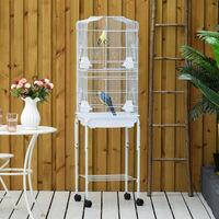 PawHut Metal Bird Parrot Cage w/ Stand Feeding Tray Wheels Parakeet Pet White