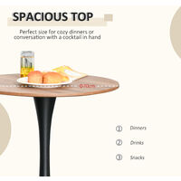HOMCOM Round Dining Table Stylish Bistro Home Furniture w/ Metal Base Brown