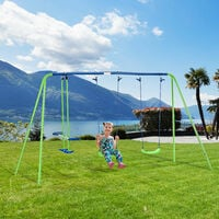 Outsunny Kids Double Swing & Seesaw Glider Outdoor Child Activity Play 3+ Yrs