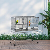 PawHut Double Rolling Metal Bird Cage w/ Removable Tray Shelf Wood Perch Food Tray