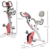 HOMCOM 2-in-1 Upright Exercise Bike Stationary Exercise Foldable w/ Monitor Pink