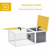 PawHut Indoor Outdoor Wooden Rabbit Hutch Small Animal Cage w/ Asphalt Roof