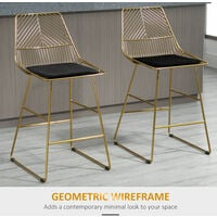HOMCOM Set Of 2 Modern Wire Cut-Out Counter Height Bar Stools Kitchen Dining Gold Tone