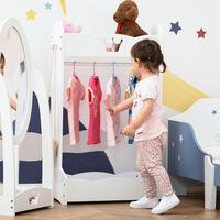 HOMCOM Kids Princess Clothes Rail w/ Storage Shelves Hooks Freestanding Wardrobe 3-8 Yrs