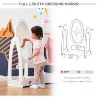HOMCOM 140cm Childs Princess Dressing Mirror Freestanding w/ Storage 3-8 Yrs