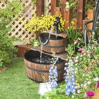 Outsunny Wooden Water Pump Fountain Cascading Feature Barrel Garden Deck - 2 Tier