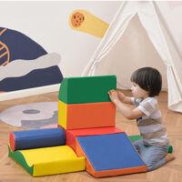 HOMCOM 7 Pcs Kids Soft Foam Puzzle Play Blocks Set Learning Toddler Activity