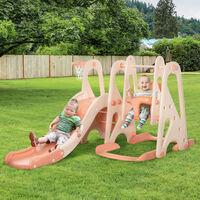 HOMCOM 3-In-1 Kids Swing & Slide Set w/ Basketball Hoop Seat Toddler Playground Pink