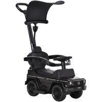 HOMCOM Kids Licensed Mercedes-Benz Ride-On Sliding Car Walker w/ Storage 12-36 Mnths Black