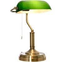 HOMCOM Banker's Table Lamp Desk Lamp Home Living Lighting w/ Glass Shade