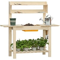 Outsunny Wooden Garden Potting Table Bench Workstation w/ Sliding Top Sink