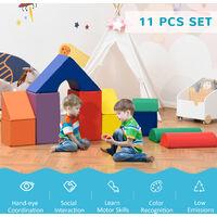 HOMCOM 11 Pcs Kids Soft Foam Puzzle Play Blocks Set Learning Toddler Activity
