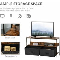 HOMCOM Metal Frame Industrial TV Cabinet TV Console Unit w/ 2 Drawers Brown