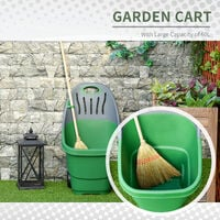Outsunny 60L Plastic Garden Cart Trolley w/ Handle Wheels Carry Move Leaves Rubbish