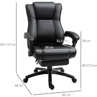 Vinsetto PU Leather Executive Home Office Chair Swivel High Back Recliner Black