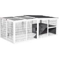 PawHut Indoor Outdoor Wooden Rabbit Hutch Small Animal Cage w/ Hinge Roof Grey