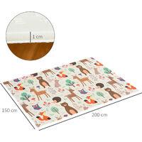 HOMCOM 200x150cm Kids Animal Patterned Foam Play Mat Reversible Floor Activity