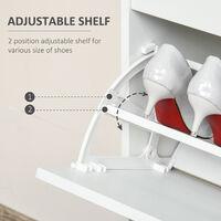 HOMCOM 2 Tipping Drawer Shoe Cabinet Storage Unit Adjustable Shelf White